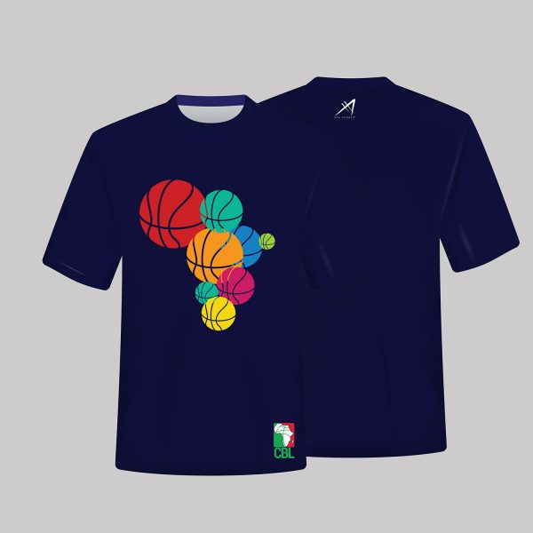 ) Multicolored Basketball Tees available in White, Blue and Grey