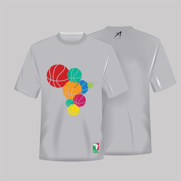 Multicolored Basketball Tees available in White, Blue and Grey